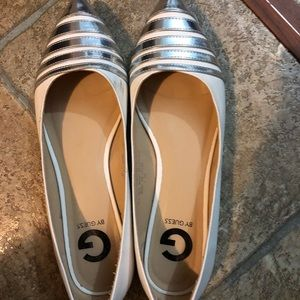 Guess Shoes White with Silver stripes on front